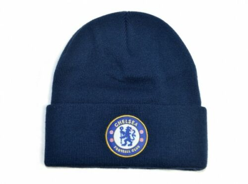Chelsea Football Club Beanie Blue Knitted Hat Fan Official Mens Navy Blue