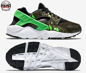 6a08cfe8e315 Nike Huarache Run Print (GS) 704943 007 Black Green-Olive Kid s Shoes Sz  6.5Y