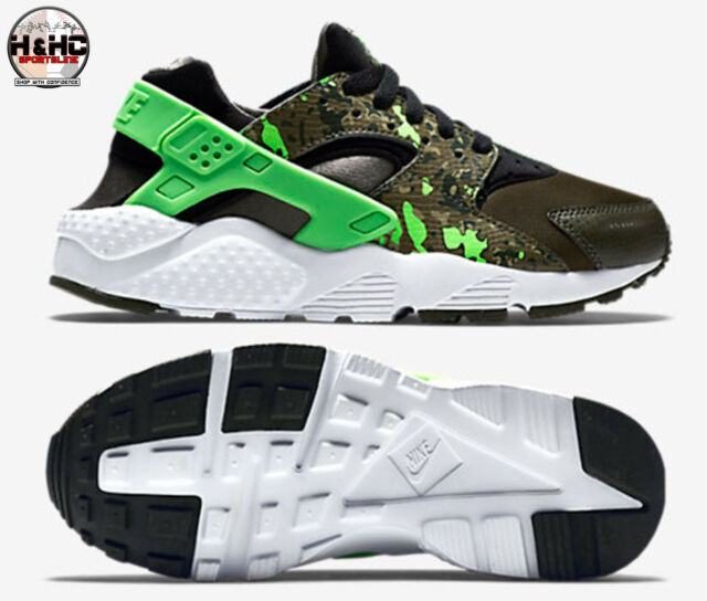 best service d1067 2f1dc Nike Huarache Run Print (GS) 704943 007 BlackGreen-Olive Kids Shoes