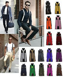 NEW-MENS-SUSPENDERS-ADJUSTABLE-CLIP-ON-BRACES-STRONG-WEDDING-PARTY-WOMENS-85-CMS