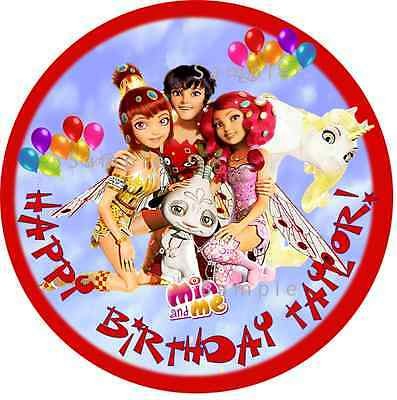 """MIA AND ME  ROUND 7.5/"""" CAKE TOPPER ICING OR RICEPAPER"""
