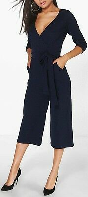 NEW LADIES WOMEN JENNY ROLL SLEEVE RELAXED CULOTTE JUMPSUIT NAVY SIZE 8,10,12,14