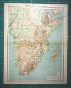 South Central Africa Plate 70 - Vintage 1922 Times World Atlas Antique Folio Map