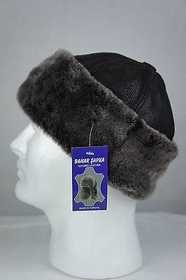 Brown 100% Sheepskin Shearling Leather Fur Beanie Round Bucket Hat Winter S-3XL