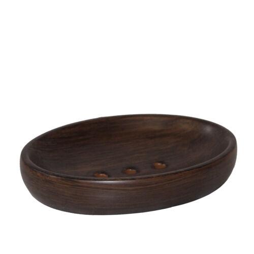 Marron en céramique de Savon Bol Savon Support repose-savon en en Finition Bois-Série ETNIC
