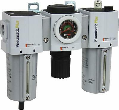 PneumaticPlus Heavy Duty FRL Air Filter Regulator Lubricator Combo 3//4 NPT