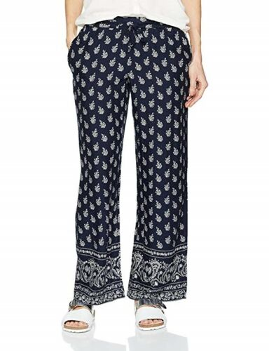 Fat Face Navy Blue Woodblock wide leg floral Print trousers UK 6 BNWT
