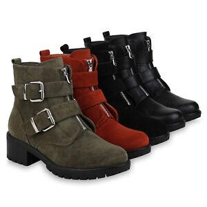 Damen-Stiefeletten-Biker-Boots-Zipper-Booties-Schnallen-832613-Schuhe