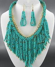 Turquoise Glass Seed Bead Gold Tone Link Tassel Necklace Earring Set