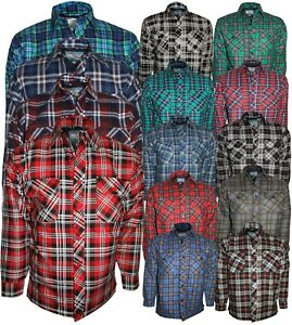Men-s-Padded-Work-Shirts-Quilted-Cotton-Lumberjack-Shirt-Top-Coats-Jackets-M-XXL