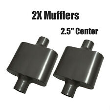 Pair 25 Center Single Chamber Performance Race Mufflers Inlet Outlet Black