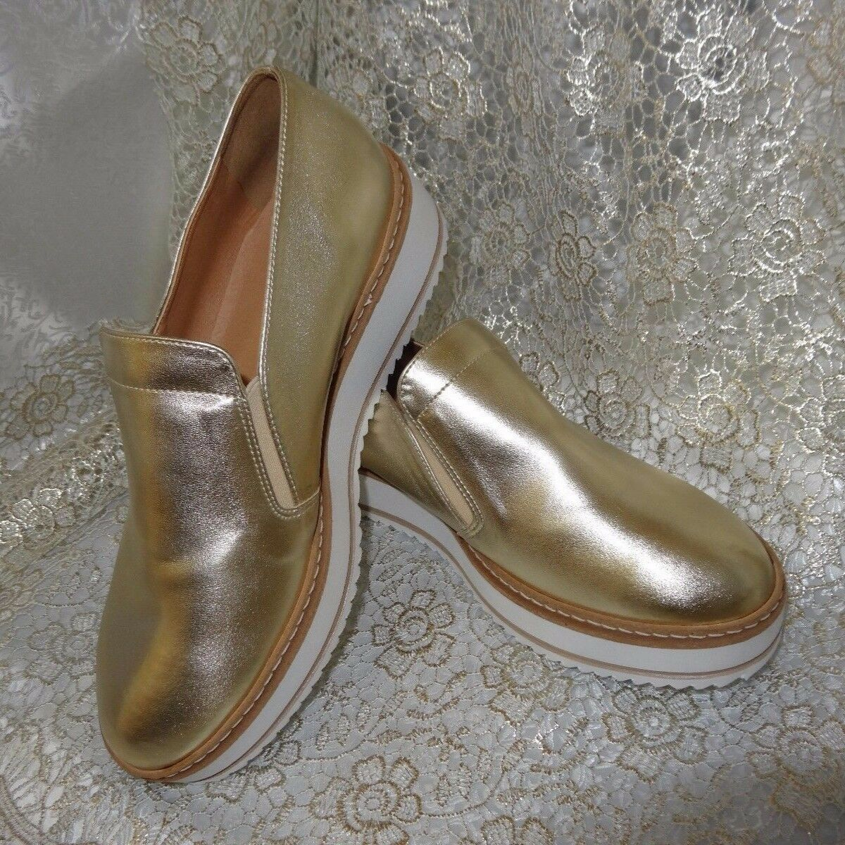 GOLD REAL LEATHER platform flat Womens shoes 7 side zipper round toe Greece