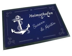 Fussmatte-mit-Name-Anker-Heimathafen-blau-Teppich-Geschenk-Hochzeit-Einzug-Paare