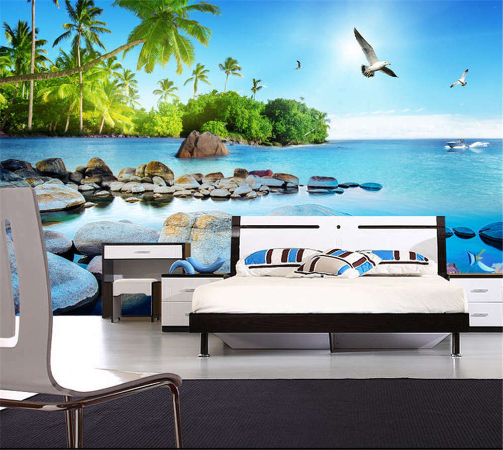 Lively Cosy Island 3D Full Wall Mural Photo Wallpaper Printing Home Kids Decor