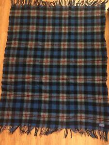 Vintage-Pendleton-100-Wool-Plaid-Blanket-Throw-Blue-Stadium-45-x-56-with-Fringe