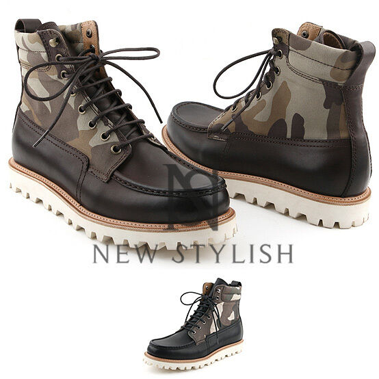 NewStylish mens fashion shoes Camouflage neck moc toe lace up leather boots