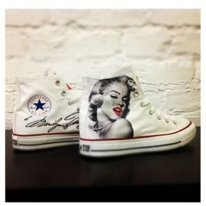 Classiche Monroe In Converse Disegnate Paint Scarpe Handmade Uomo Marilyn Donna gx5wAqx8