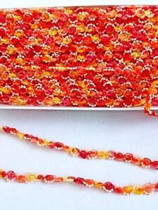 Craft-Trim-Rosebud-Organza-Pearl-Braid-6-yards-3-8-034-wide-Red-Orange-Ombre-Lot-3A6