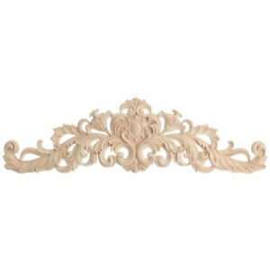 40x12cm-Exquisite-Classic-Rubber-wood-Carved-Applique-Furniture-Natural-B7E4