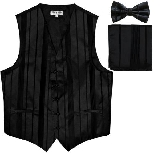 New Men/'s vertical stripes Tuxedo Vest Waistcoat/_bowtie /& hankie black formal