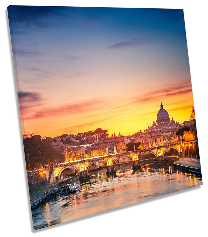 St Peters Cathedral Rome Sunset  SQUARE CANVAS Wand Kunst Framed Drucken