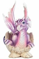 5.5 Inch Purple Baby Dragon In Eggshell With Gem Figurine, New, Free Shipping on sale