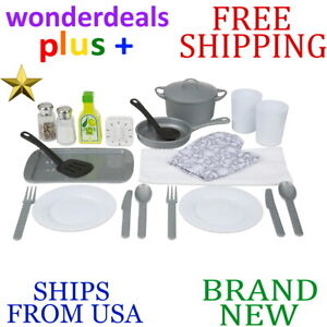 New Melissa Doug Kitchen Accessory Set Ages 3 Years Up Wipe Clean 20pc Piece Ebay