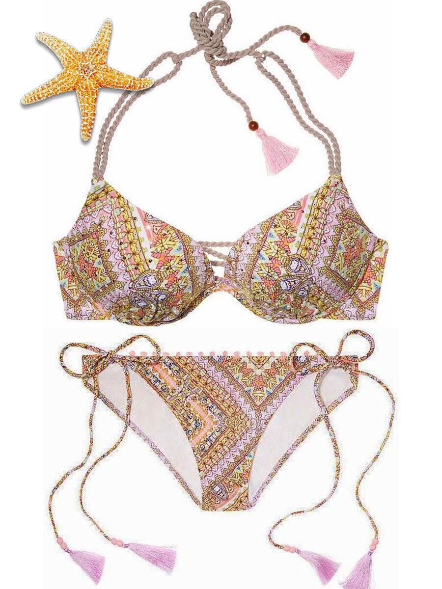 Victoria Secret Gorgeous Pink Paisley 34C teeny tie tassel bikini large NWT
