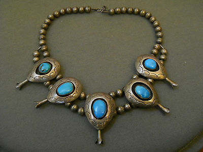 """Turquoise sterling silver shadowbox necklace 16 3/4"""""""