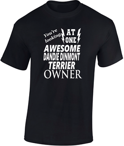Awesome Dandie Dinmont Terrier Owner  Fathers  T-Shirt Funny Gift  Dog Trainer
