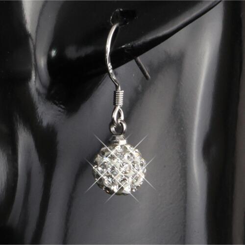 Shamballa aretes 8 mm pedrería cristal colgadores 925 plata PL regalo o1560