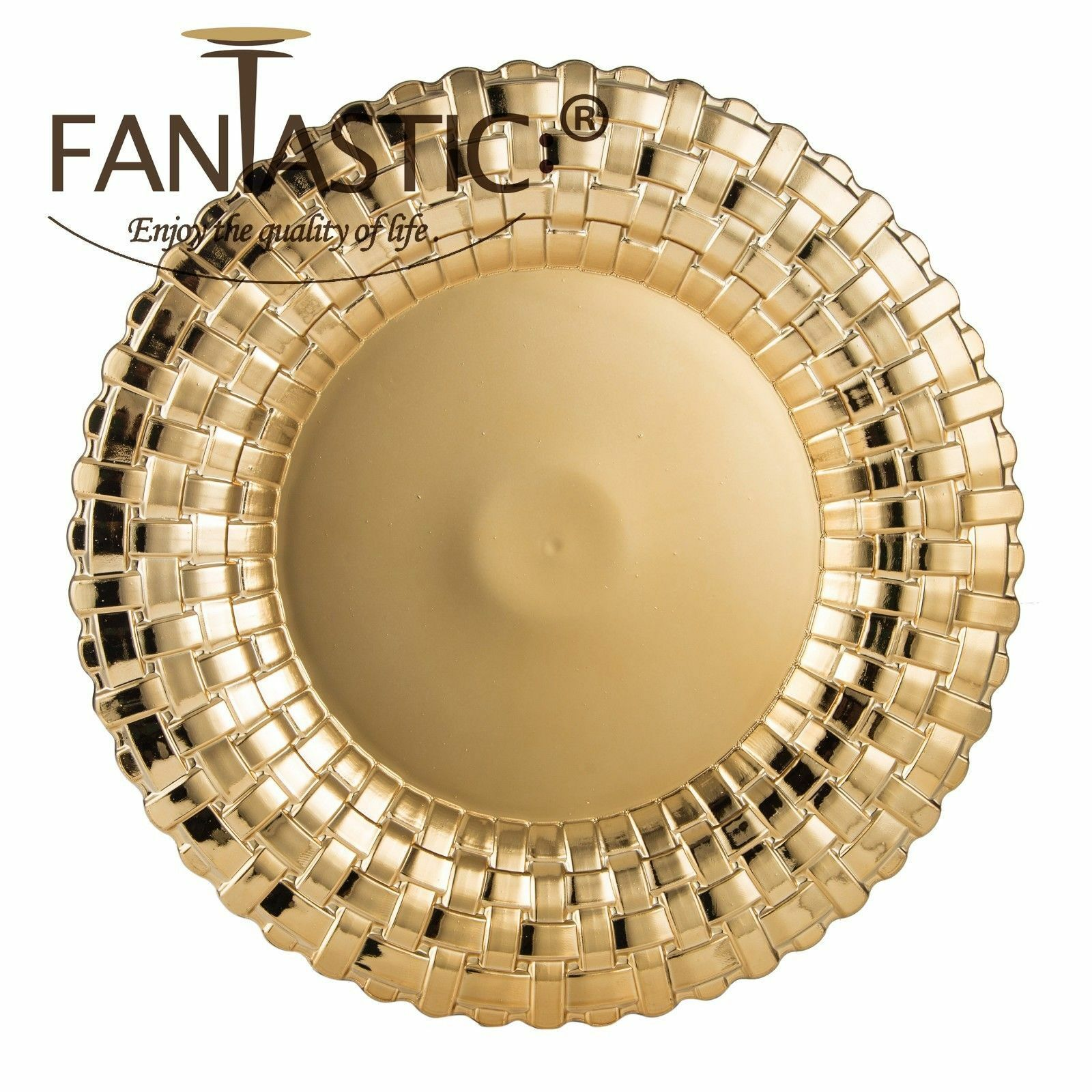 Fantastic )™ Round 13Inch Charger Plate With Shiny Finish ( Braided Pattern )
