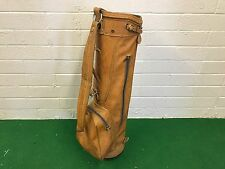 "NICE Vintage BEN HOGAN AMF GOLF BAG Leather BROWN 8"" CART BAG Vinyl THIN Strap"