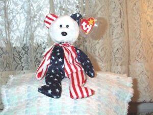 144d9ed3a8f TY beanie baby babies bear Spangle White USA 6-14-1999 White Head ...