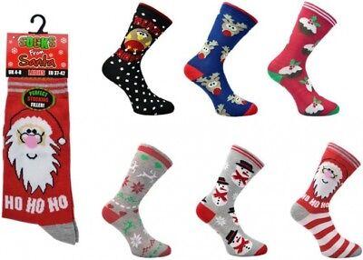 Femmes Taille UK 3-7 Nouveauté à Motifs Chaussettes de Noël Stocking Filler idée cadeau