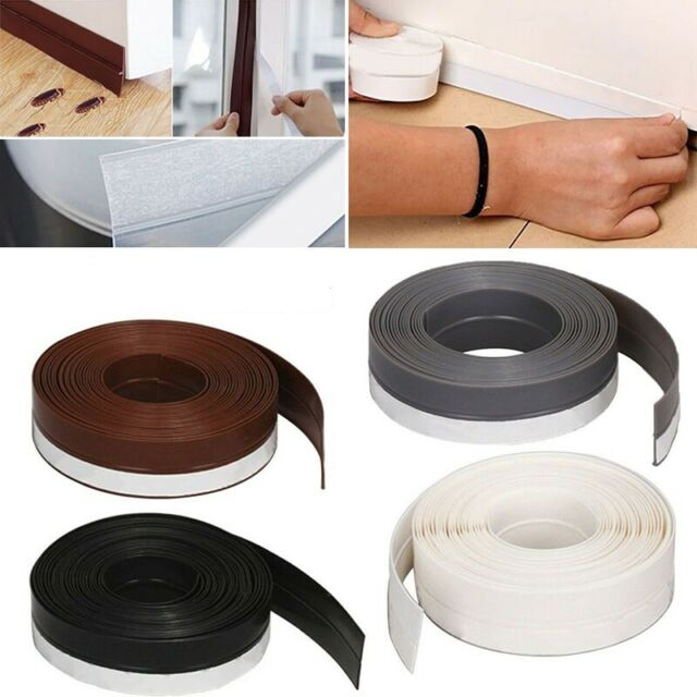 2 Pack Wind-proof Brush Weather Stripping Seal Tape for Door Window Sound Insulation Strip Draught Seal Self-adhesive Sealing Strip Brown