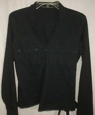 Women's Marithé Francois Girbaud. L/S Wrap Tie Stretch Shirt. Med.Reg. Price $84