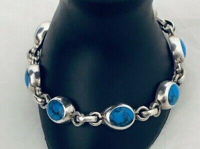 Cobalt Blue Taxco Mexico Vintage Deep Blue Gemstone Link Bracelet Sterling 925 Link Bracelet Locking Box Clasp Gift For Her