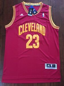 promo code 25971 bc329 Details about LeBron James #23 Cleveland Cavaliers Throwback Away Swingman  Red Jersey L NWT