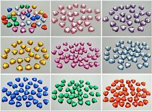 100 Acrylic Faceted Heart Flatback Rhinestone Gems 12X12mm Color Choice