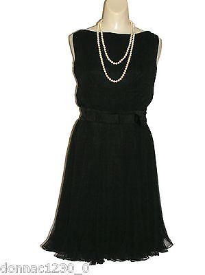 Miss Elliette Vtg Womens 12 Dress Sheer Black Pleats Chiffon Metal Zipper Belt