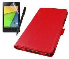 Hülle f Asus f Google Nexus 7 II (2013) Leder-Imitat Tasche Case Cover rot