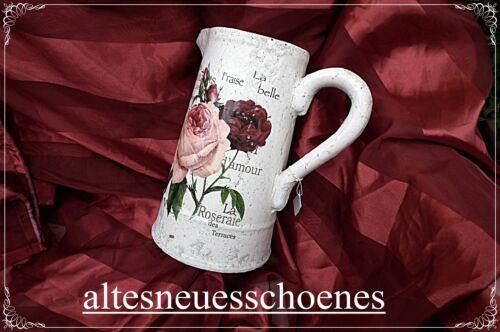 24,5cm Steingutkrug  Kanne  Rosen wunderschön Shabby Chic Ein Traum von Krug