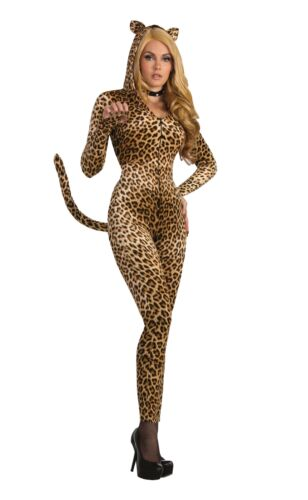 Sly Leopard Costume Animal Fancy Dress Jumpsuit