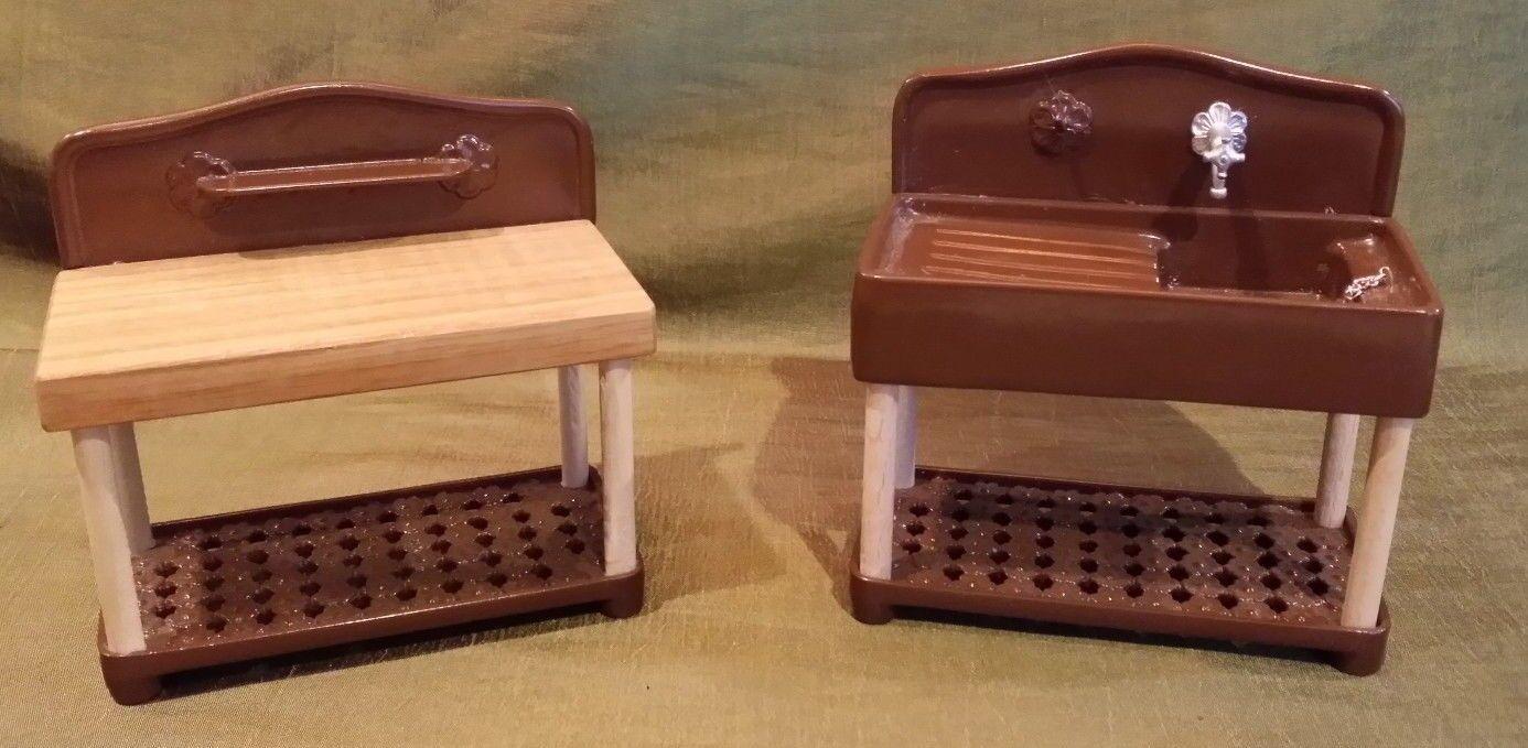 bambolahouse Miniature Enamelled Metal & Wood Marianne modellole Sink &  Table  contatore genuino