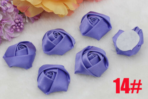 Lot 50pcs Big Satin Ribbon Rose Flower DIY Craft Wedding Appliques decoration