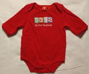 Baby-My-First-Christmas-Long-Sleeve-One-Piece-Top-Unisex-Size-0-3-Months