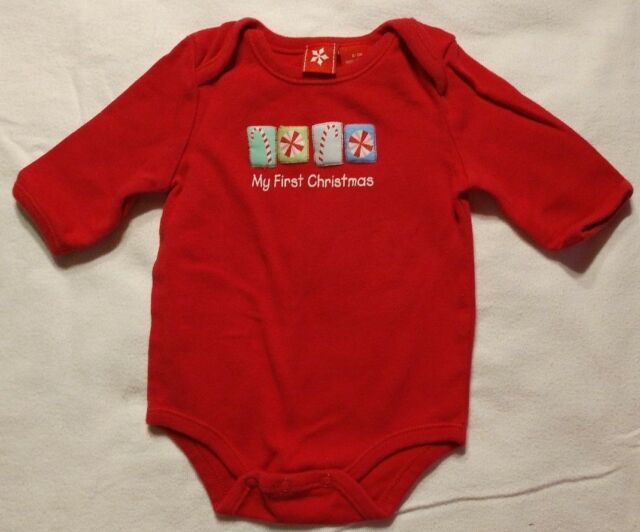 Baby My First Christmas Long Sleeve One Piece Top Unisex Size 0-3 Months
