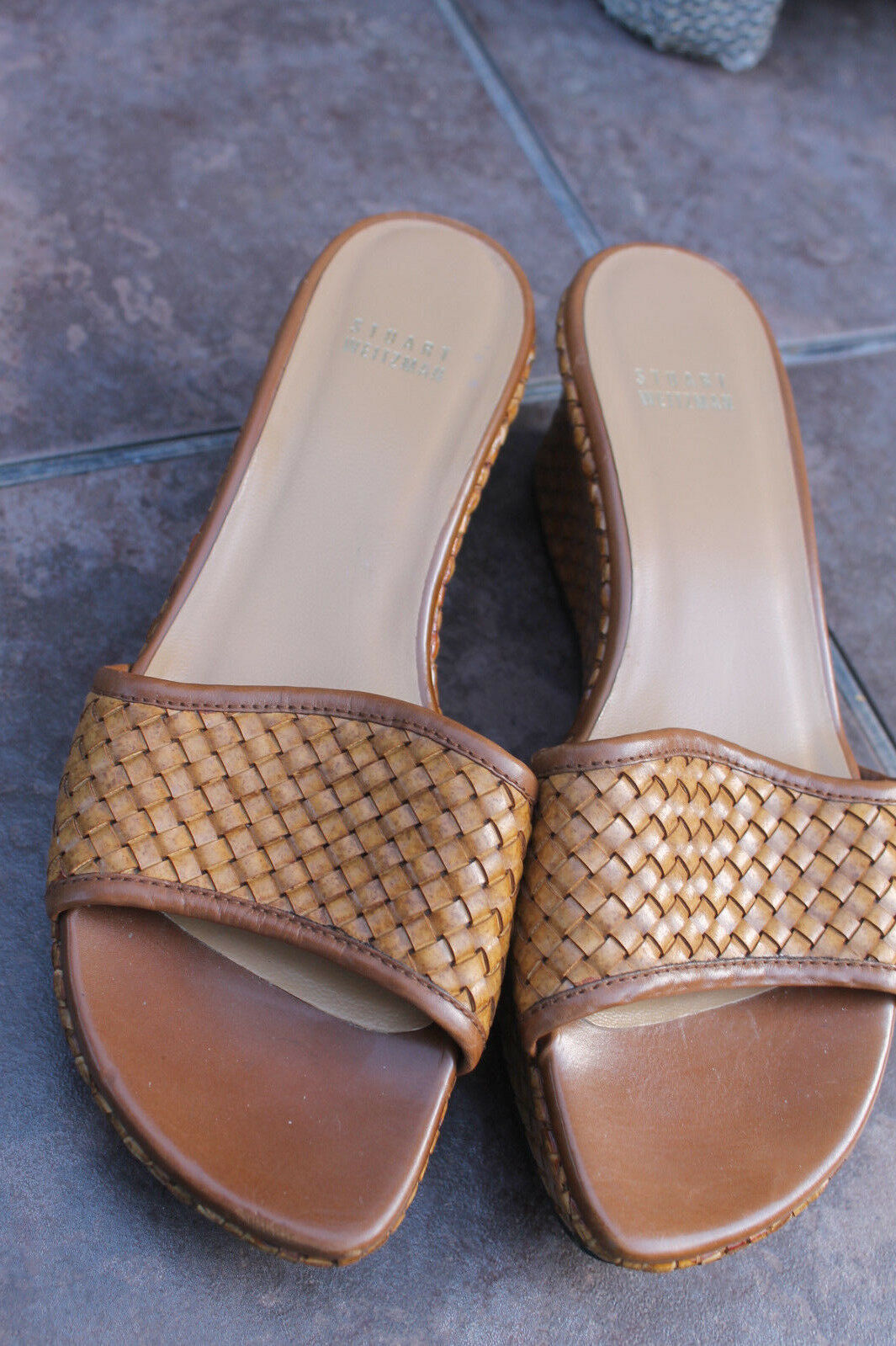 Stuart Weitzman SHOES SANDALS SLIDES WEDGES  MULES BROWN Weave Leather Size 8.5