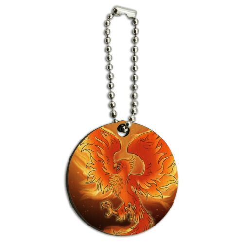Phoenix Rising from the Flames Wood Wooden Round Keychain Key Chain Ring